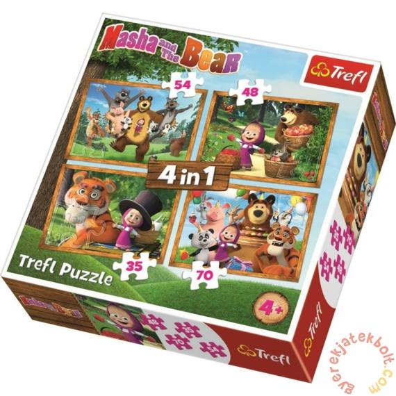 Trefl 4 az 1-ben puzzle (35,48,54,70 db-os) - Mása és a medve - Erdei kalandok (34329)