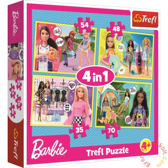 Trefl 4 az 1-ben puzzle (35,48,54,70 db-os) - Barbie világa (34333)