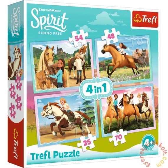 Trefl 4 az 1-ben puzzle (35,48,54,70 db-os) - Szilaj, a szabadon szárnyaló (34334)