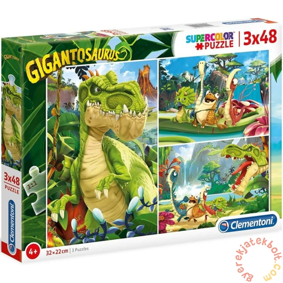 Clementoni 3 x 48 db-os Szuper Színes puzzle  - Gigantoszaurusz (25249)
