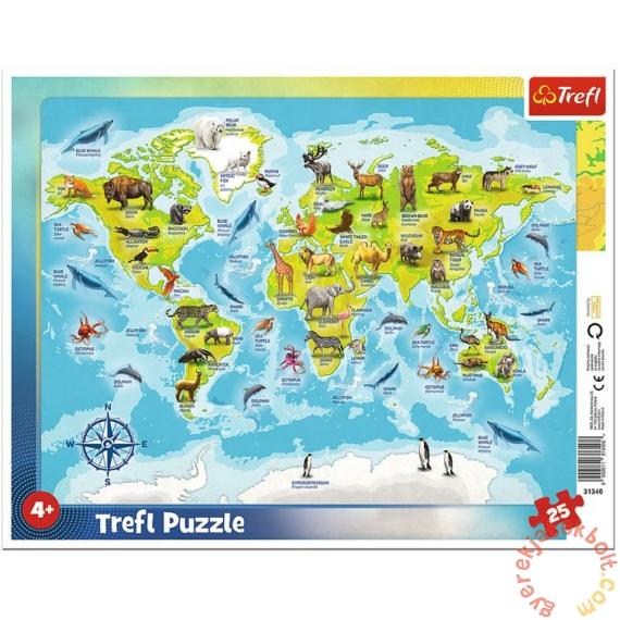Trefl 25db-os keretes puzzle - Világtérkép állatokkal (31340)