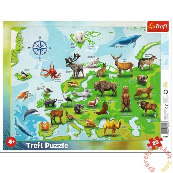 Trefl 25db-os keretes puzzle - Európa térkép állatokkal (31341)