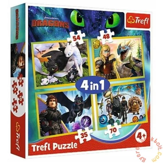Trefl 4 az 1-ben puzzle (35,48,54,70 db-os) - Így neveld a sárkányodat 3 (34341)